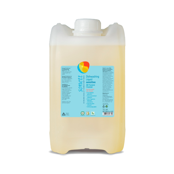 Жидкое средство для мытья посуды, универсальное чистящее средство Sensitive для чувствительной кожи 10 л